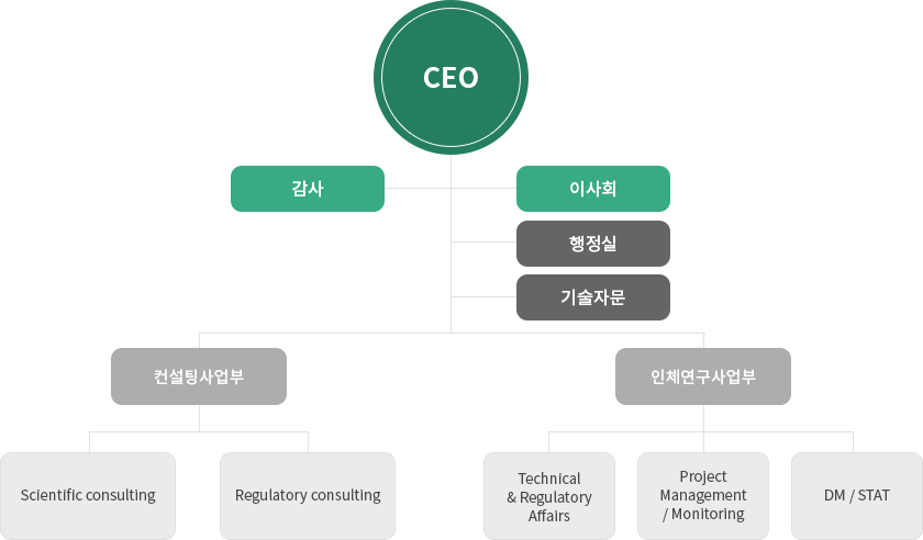 ceo-감사-이사회/행정실/기술자문/컨설팅사업부-scientific consulting, regulatory consulting/인체연구사업부- technicla&regulatory affairs, project management&monitoring, DM&STAT